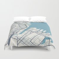 boston map Duvet Covers featuring Boston Map by Sophie Calhoun