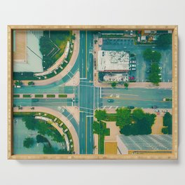 The City From Above (Color) Serving Tray