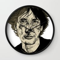 neil gaiman Wall Clocks featuring Neil Gaiman by Andy Christofi