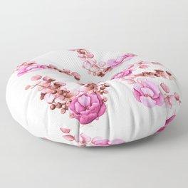 L-O-V-E in Pink Flowers Floor Pillow