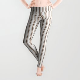 Mattress Ticking Narrow Striped Pattern in Chocolate Brown and White Leggings