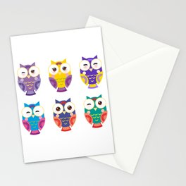 bright colorful owls on white background Stationery Cards