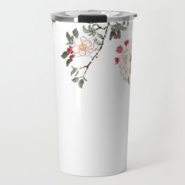 pink cherry blossom Japanese woodblock prints style Travel Mug