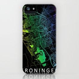 Groningen, Netherlands, City, Map, Rainbow, Map, Art, Print iPhone Case