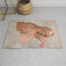 Foot Oil Painting Realistic Painterly Figurative Art in Grey and Skin Tone Rug