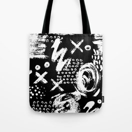 White chalk brush on black Tote Bag