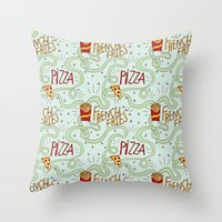 fries Throw Pillows featuring PIZZA & FRIES by Josh LaFayette