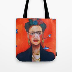 Frida Kahlo with red background Tote Bag