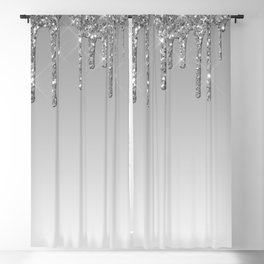 Gray & Silver Glitter Drips Blackout Curtain