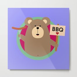 Grizzly Love BBQ Sausage Metal Print