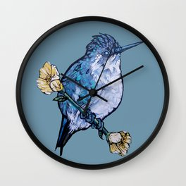 L'il Lard Butt Bee Hummingbird on Mallow flower Wall Clock