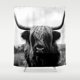 Scottish Highland Cattle Black and White Animal Shower Curtain