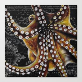 Octopus Vintage Map Colored Pencil Nautical Canvas Print