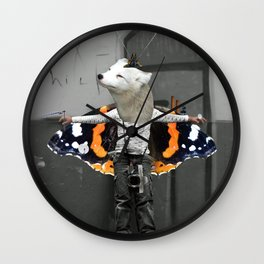 White Urban Illusion City Fox Kid Collage Wall Clock