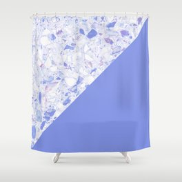 Terrazzo: white&cyan Shower Curtain