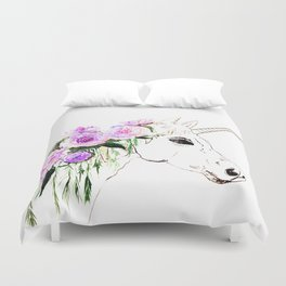 Unicorn with purple flowers Duvet Cover