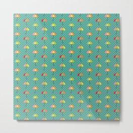 April Showers - Spring Rain Umbrella Pattern in Teal Metal Print
