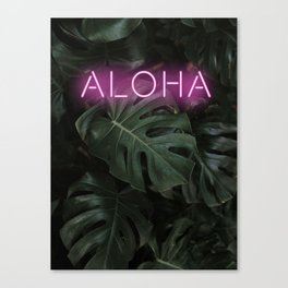 Neon Sign, ALOHA, Monstera Leaves, Tropical Leaf Canvas Print