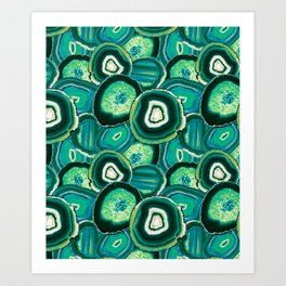 Geode Slices No.1 in Emerald + Malachite Green Art Print