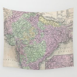 Vintage Map of India (1853) Wall Tapestry