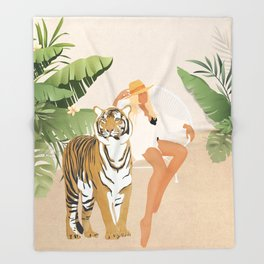 The Lady and the Tiger Throw Blanket