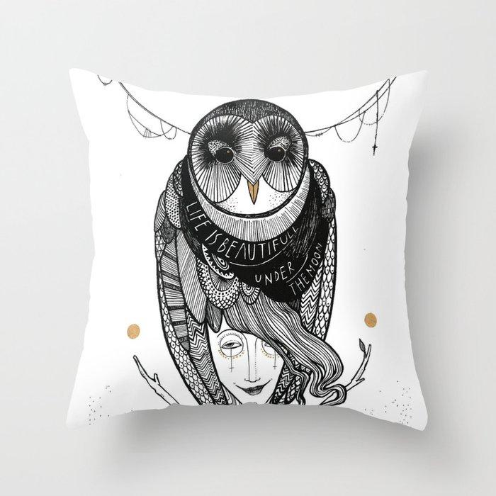 bird women Throw Pillow