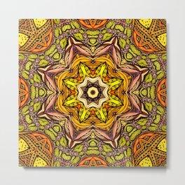 Abstract orange mandala Metal Print