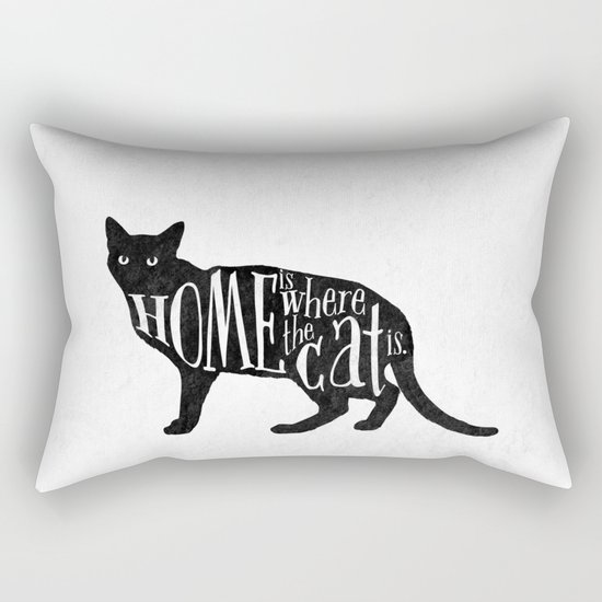Home Is Where The Cat Is. Rectangular Pillow