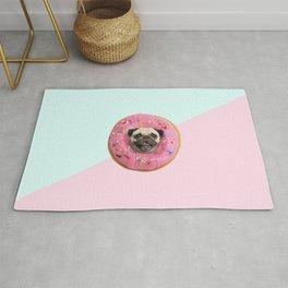 Pug Strawberry Donut Rug