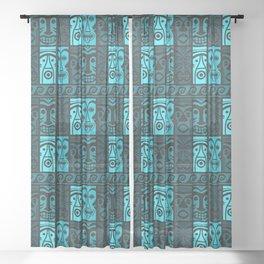 Turquoise Tikis! Sheer Curtain