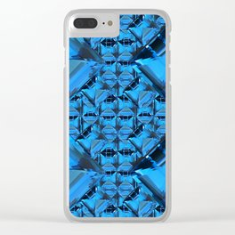 ORNATE  BLUE CRYSTAL GEMS PATTERN Clear iPhone Case