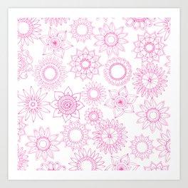 Hand painted pink white mandala floral Art Print