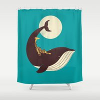 giraffe Shower Curtains featuring The Giraffe & the Whale by Jay Fleck