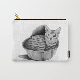 Bengal Kitten in Kitchen Bowl, Pencil Art Carry-All Pouch