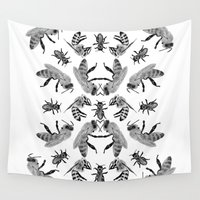 bees Wall Tapestries featuring Bees by Lauren Spooner