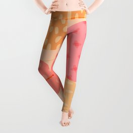 Planetary Dance (abstract in Berry & Citrus ) Leggings