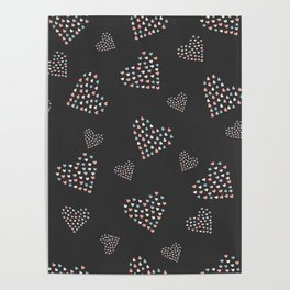 Mosaic Hearts on Black Poster