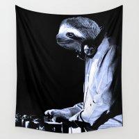 dj Wall Tapestries featuring DJ Sloth by Luigi Tarini