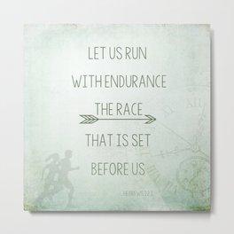 Let Us Run - Hebrews 12:1 Metal Print