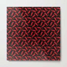 Beautiful bright fire red artistic crawling lizards. Elegant classy black seamless lizard pattern Metal Print