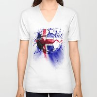 iceland V-neck T-shirts featuring football Iceland by seb mcnulty