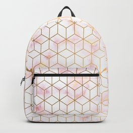 Geometric Gold Pattern on Pink Marble Backpack