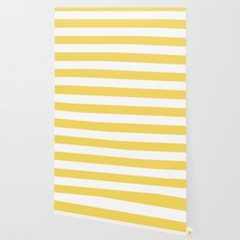 Naples yellow - solid color - white stripes pattern Wallpaper