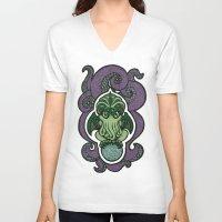 cthulu V-neck T-shirts featuring Cthulhu by AvisNoctem