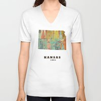 kansas V-neck T-shirts featuring Kansas state map modern by bri.buckley