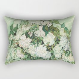 Vase With Pink Roses by Vincent Van Gogh Rectangular Pillow