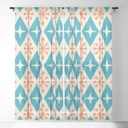 Mid Century Modern Atomic Triangle Pattern 107 Sheer Curtain