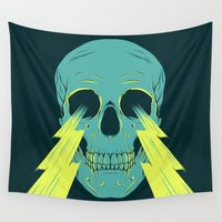 lightning Wall Tapestries featuring Lightning Skull by Eyes Wide Awake