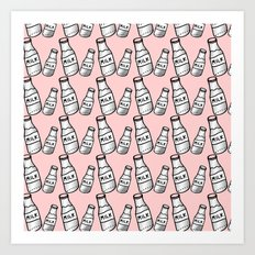 Milk bottle pastel pink Art Print