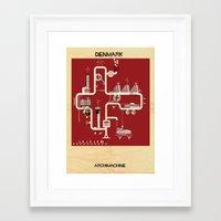 denmark Framed Art Prints featuring Denmark by federico babina